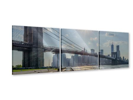 Panorama Acrylglasbild 3-teilig Brooklyn Bridge
