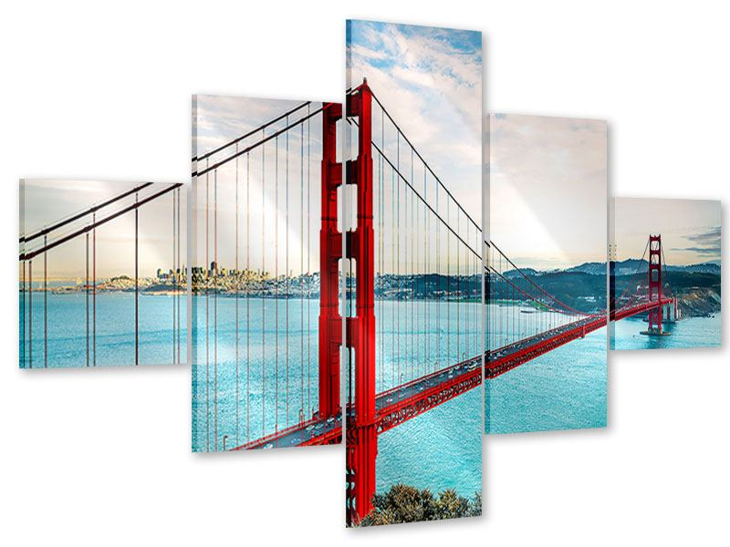 Acrylglasbild 5-teilig Golden Gate Bridge