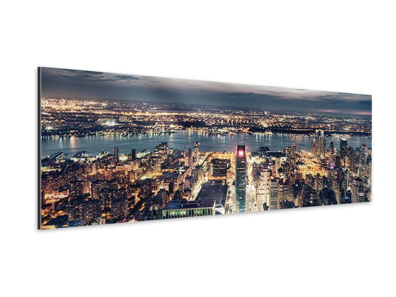 Aluminiumbild Panorama Skyline Manhattan Citylights