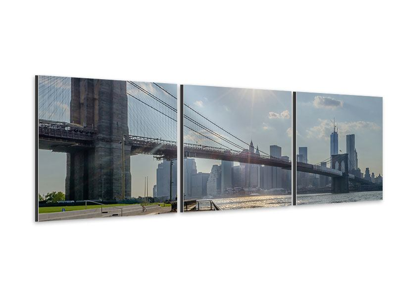 Panorama Aluminiumbild 3-teilig Brooklyn Bridge