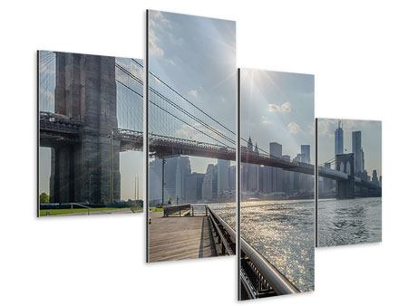 Aluminiumbild 4-teilig modern Brooklyn Bridge