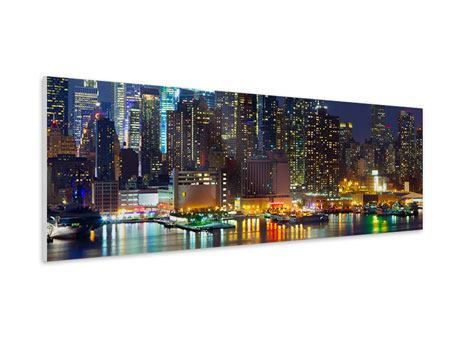 Hartschaumbild Panorama Skyline New York Midtown bei Nacht