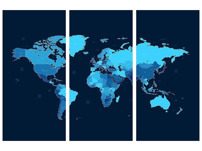 Hartschaumbild 3 Teilig Weltkarte Jetzt Bestellen