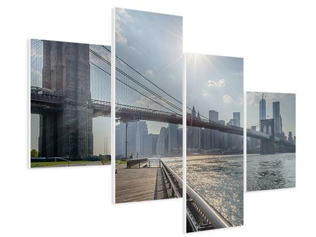 Hartschaumbild 4-teilig modern Brooklyn Bridge
