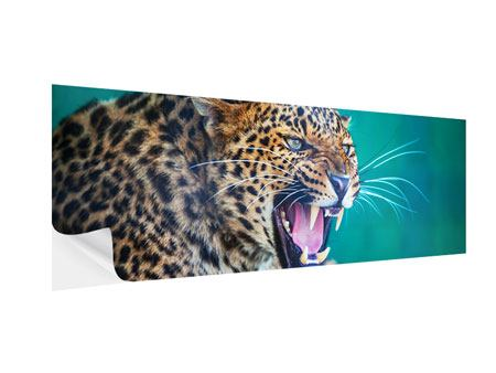Klebeposter Panorama Achtung Leopard