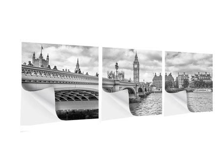 Panorama Klebeposter 3-teilig Westminster Bridge