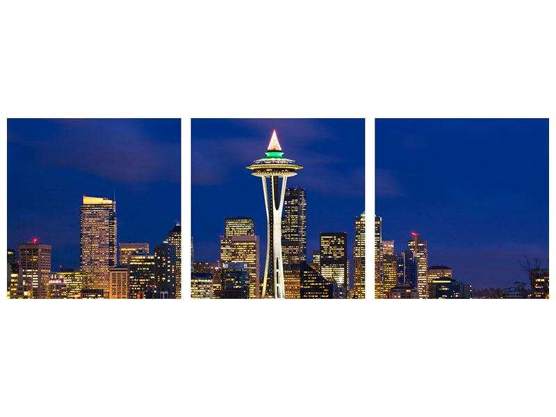 Panorama Klebeposter 3-teilig Skyline Seattle