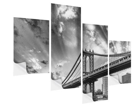 Klebeposter 4-teilig modern Manhattan Bridge