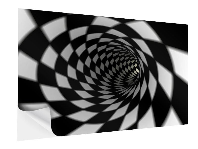 Klebeposter Abstrakter Tunnel Black & White