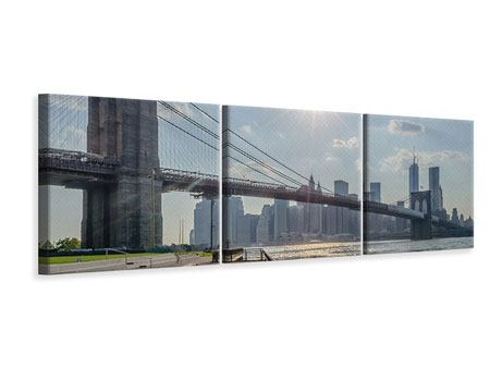 Panorama Leinwandbild 3-teilig Brooklyn Bridge