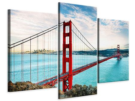 Leinwandbild 3-teilig modern Golden Gate Bridge
