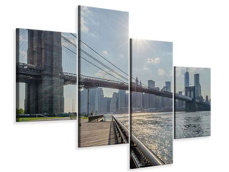 Leinwandbild 4-teilig modern Brooklyn Bridge