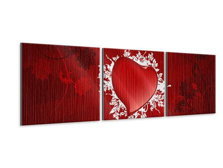 Panorama Metallic-Bild 3-teilig Flying Heart