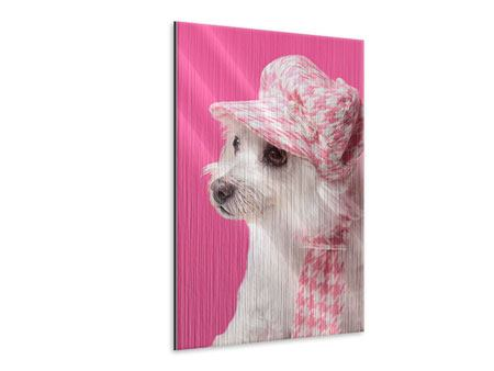 Metallic-Bild Pretty Dog In Pink