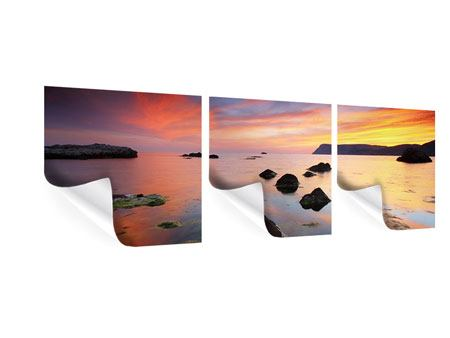 Panorama Poster 3-teilig Ein Sonnenuntergang am Meer